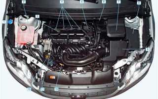 Расположение узлов и агрегатов Форд Фокус 1