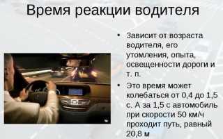 Скорость реакции водителя